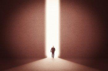man walk toward the light